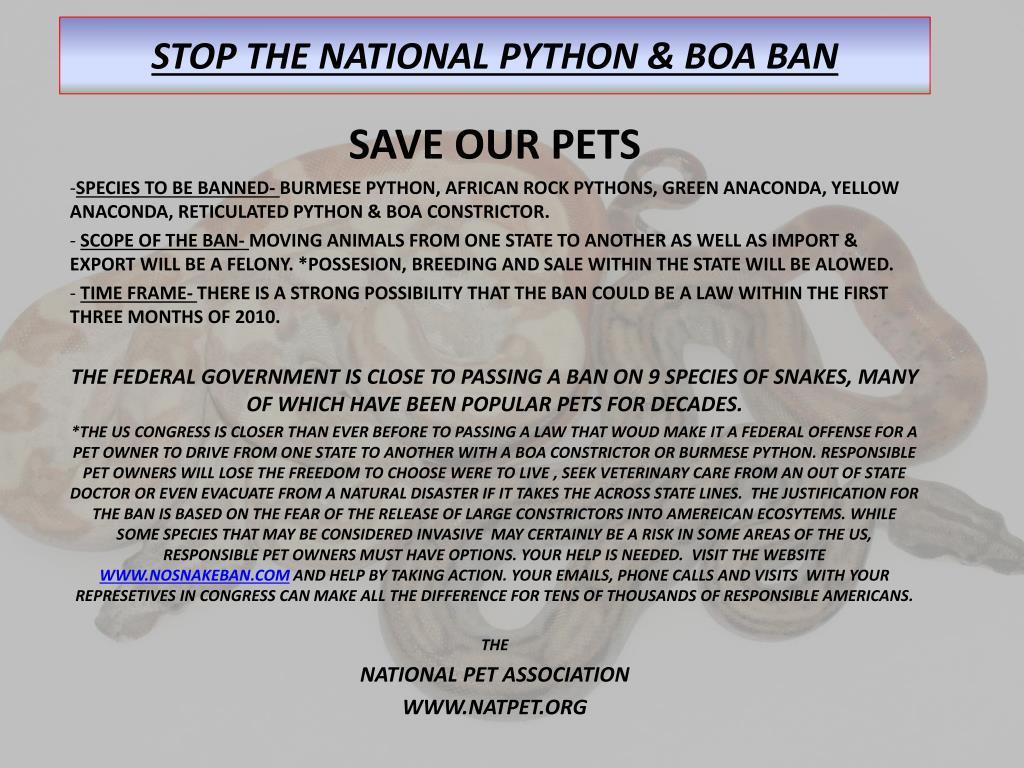 stop the national python boa ban l.