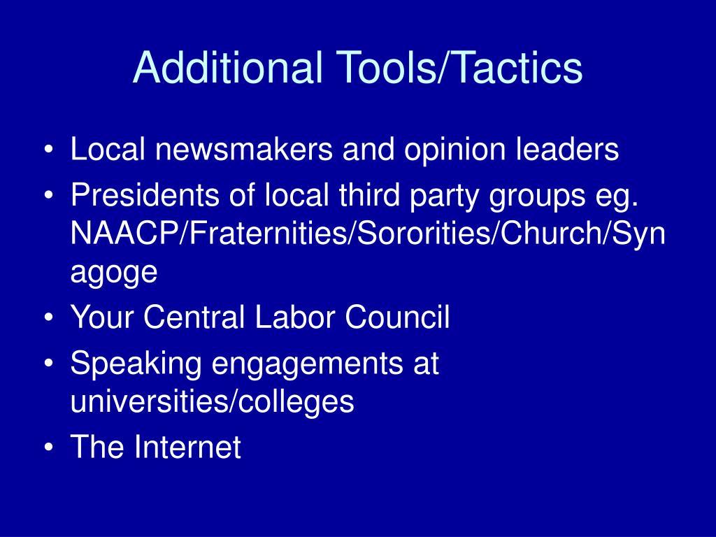 Additional Tools/Tactics