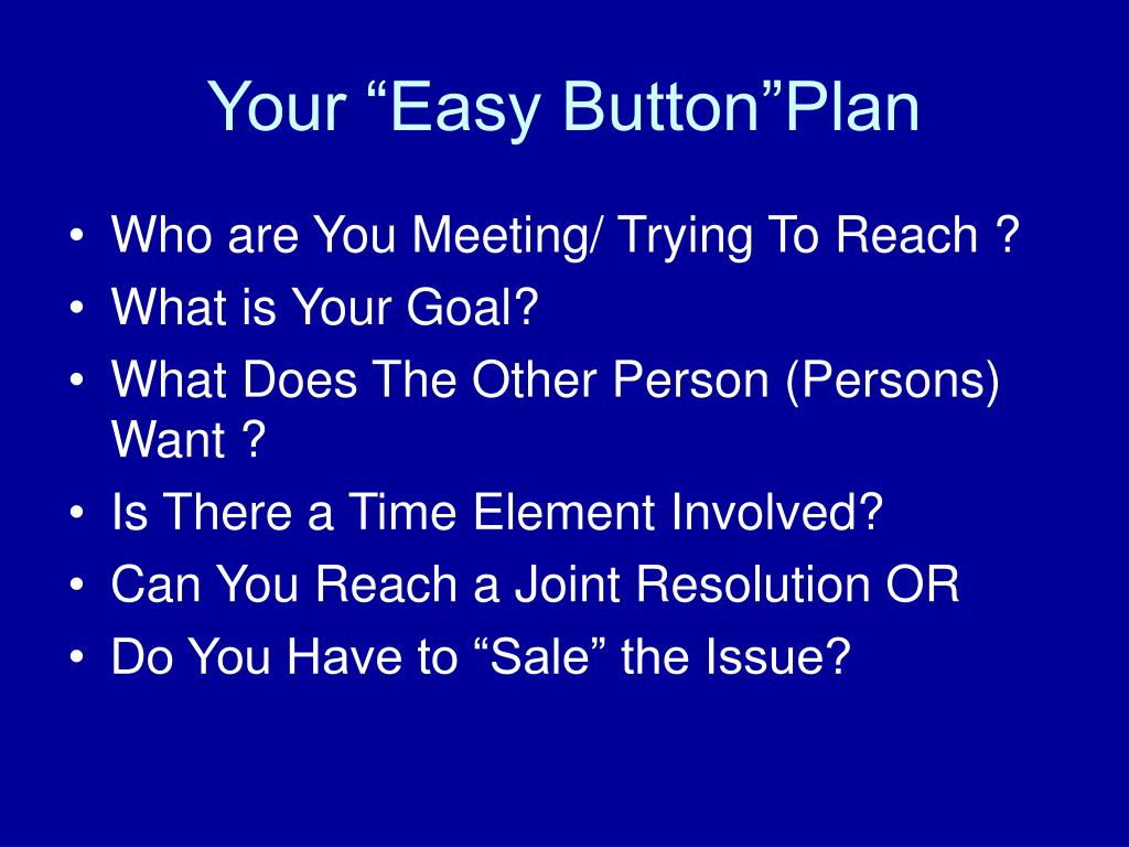 """Your """"Easy Button""""Plan"""