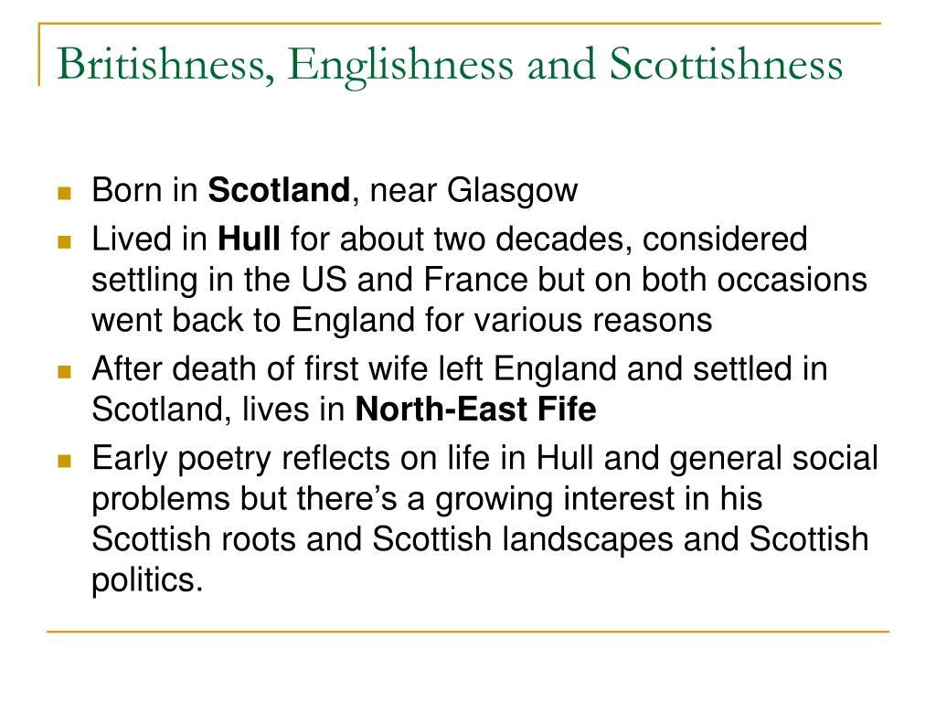 Britishness, Englishness and Scottishness
