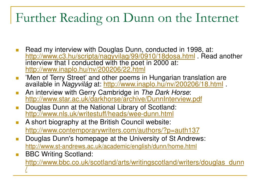 Further Reading on Dunn on the Internet