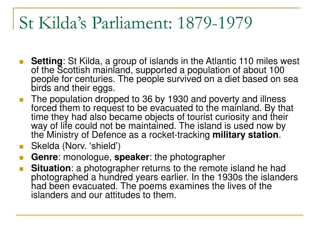 St Kilda's Parliament: 1879-1979