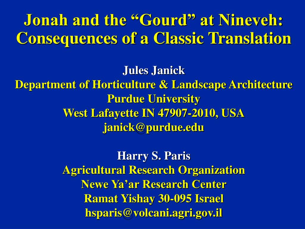 jonah and the gourd at nineveh consequences of a classic translation l.