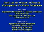 jonah and the gourd at nineveh consequences of a classic translation