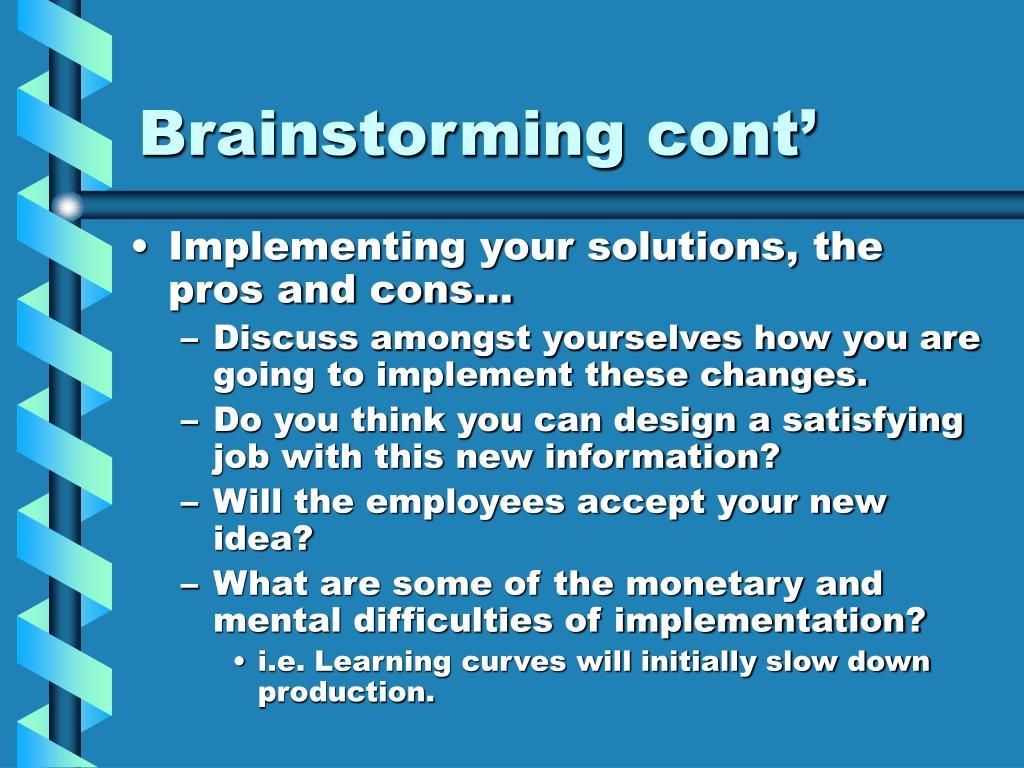 Brainstorming cont'