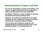 saving solutions projects and files