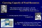 carrying capacity of food resources