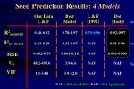 seed prediction results 4 models