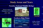 study areas and years