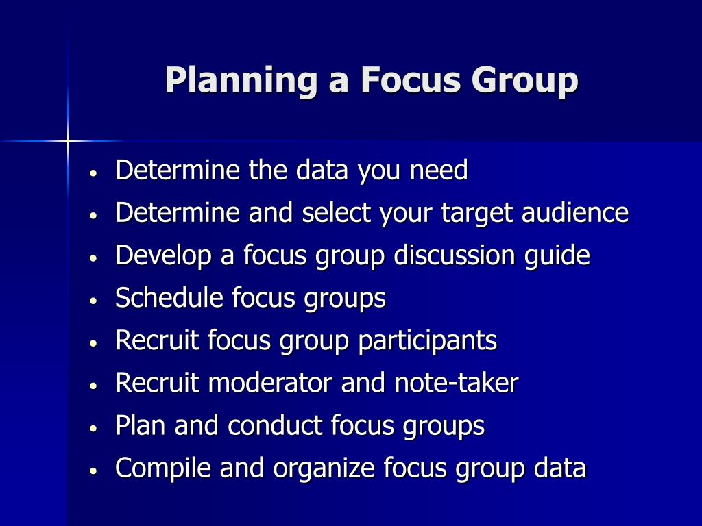 Planning a Focus Group