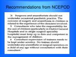 recommendations from ncepod