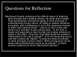 questions for reflection23