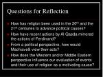 questions for reflection26