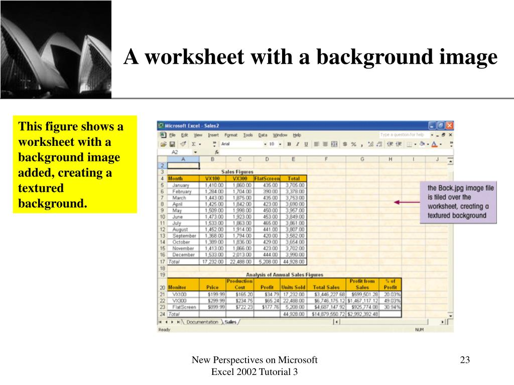 A worksheet with a background image