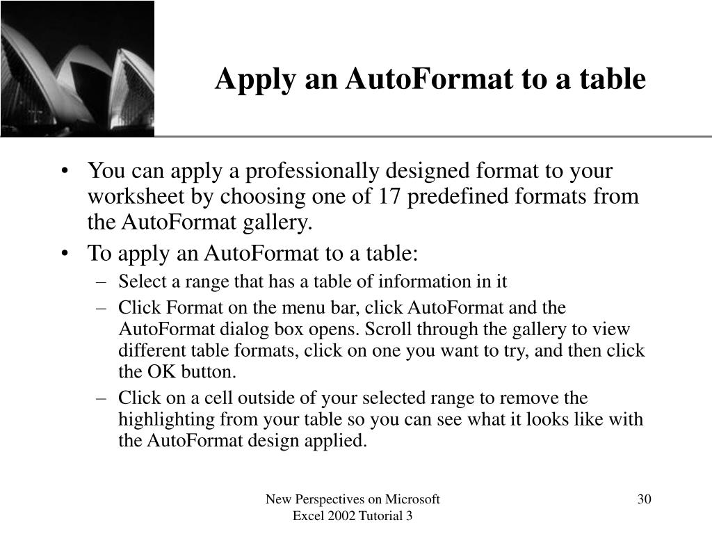 Apply an AutoFormat to a table