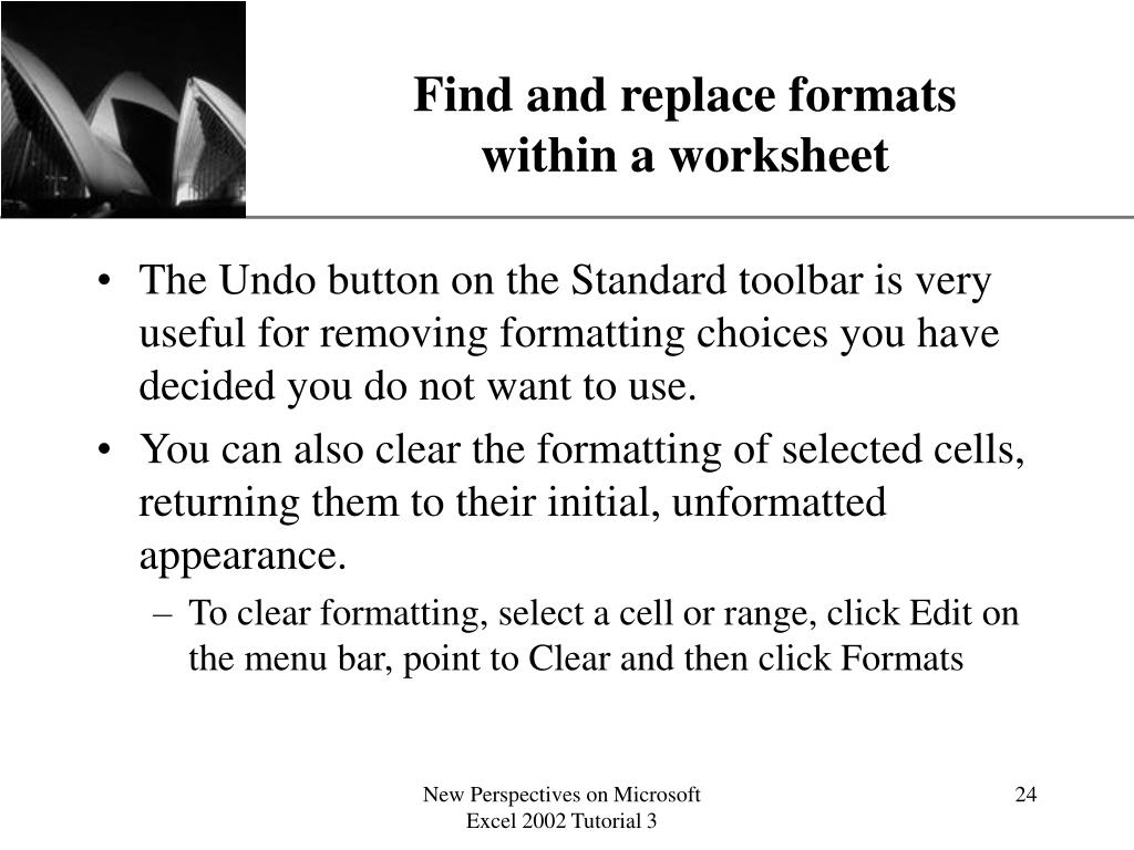 Find and replace formats