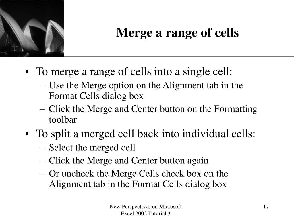 Merge a range of cells