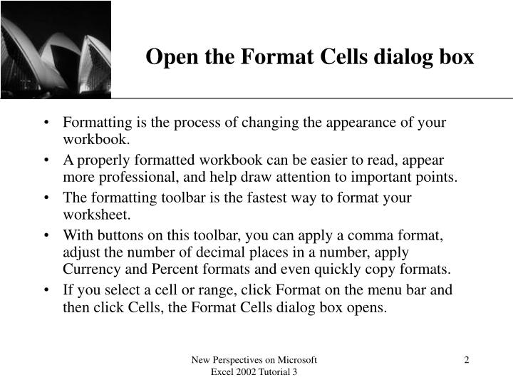 Open the format cells dialog box