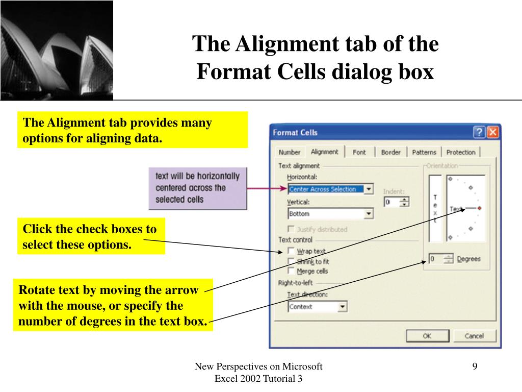 The Alignment tab of the