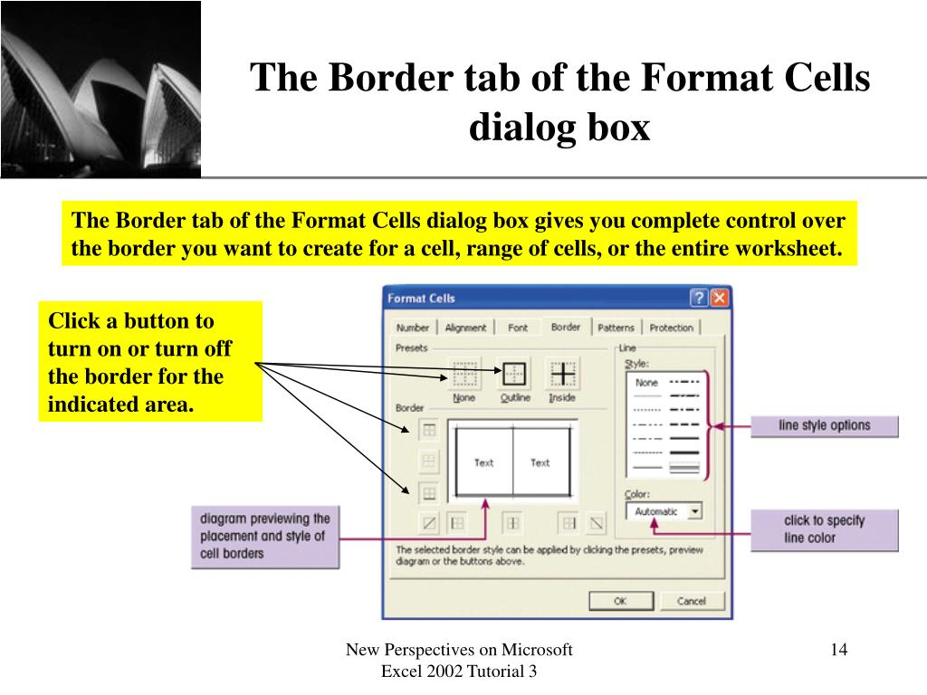The Border tab of the Format Cells dialog box