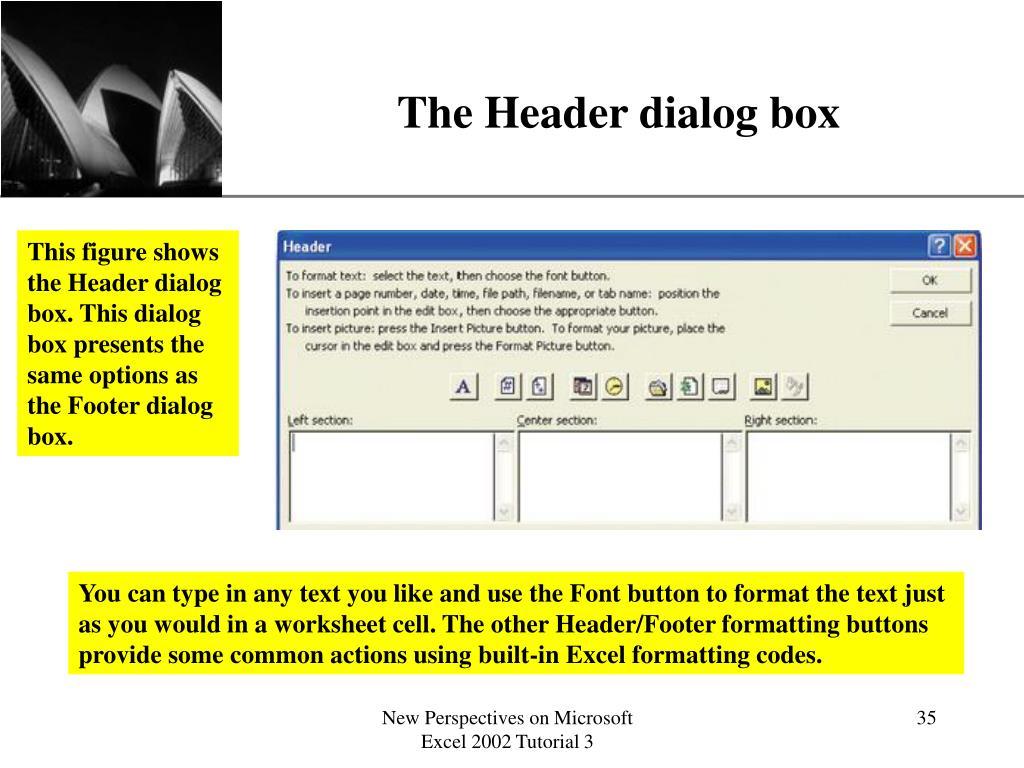 The Header dialog box