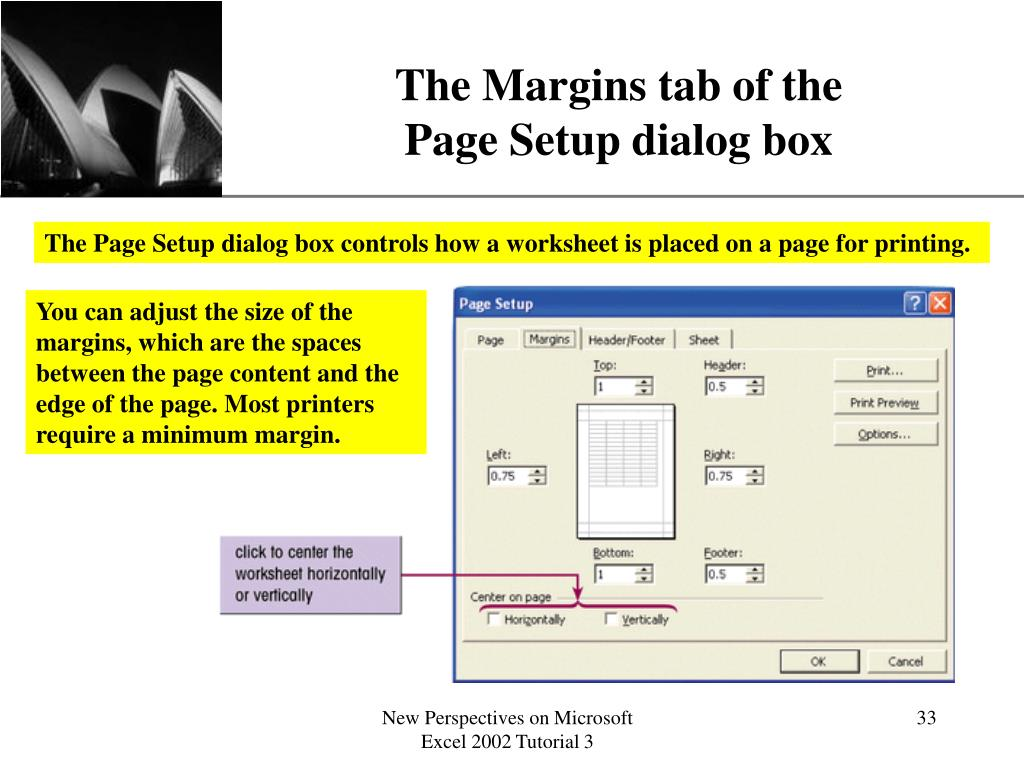 The Margins tab of the