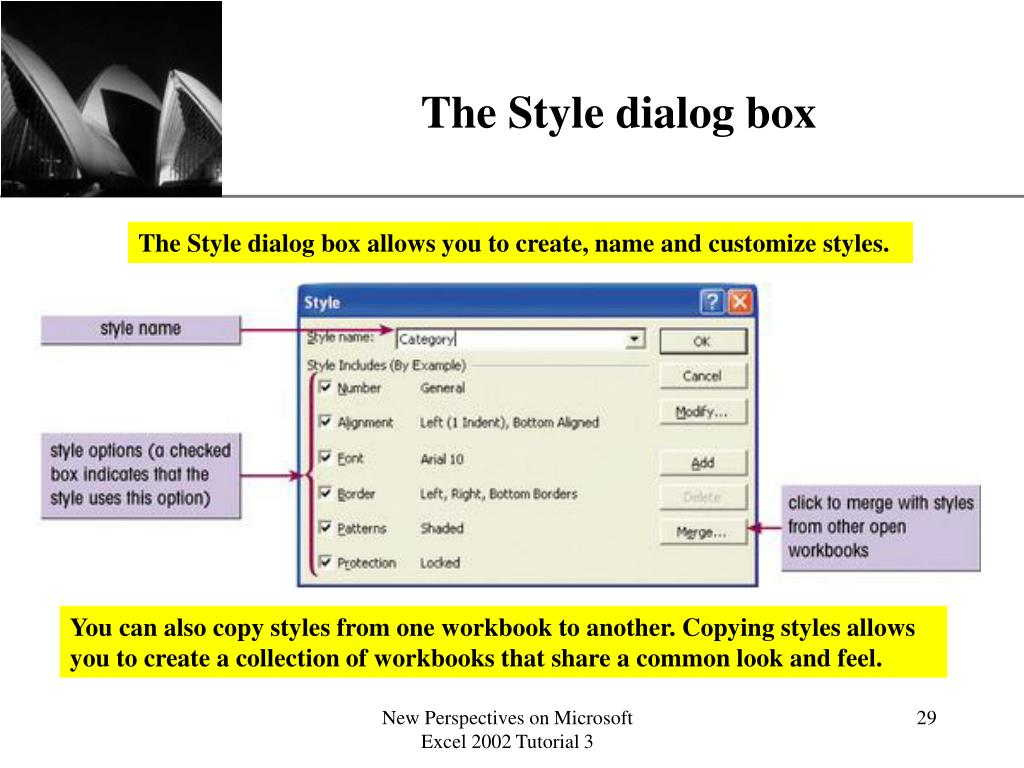 The Style dialog box