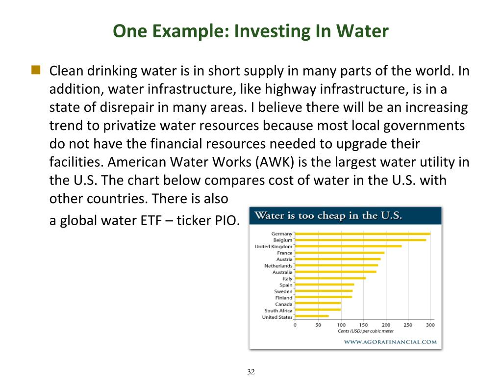 One Example: Investing In Water