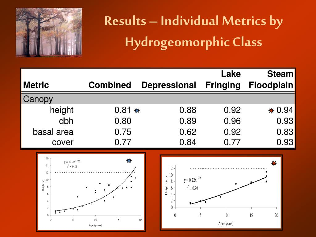 Results – Individual Metrics by Hydrogeomorphic Class