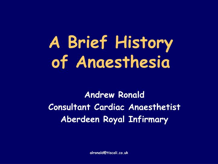 a brief history of anaesthesia n.