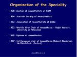 organization of the speciality