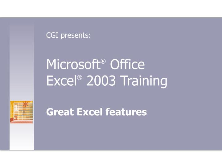 Microsoft office excel 2003 training
