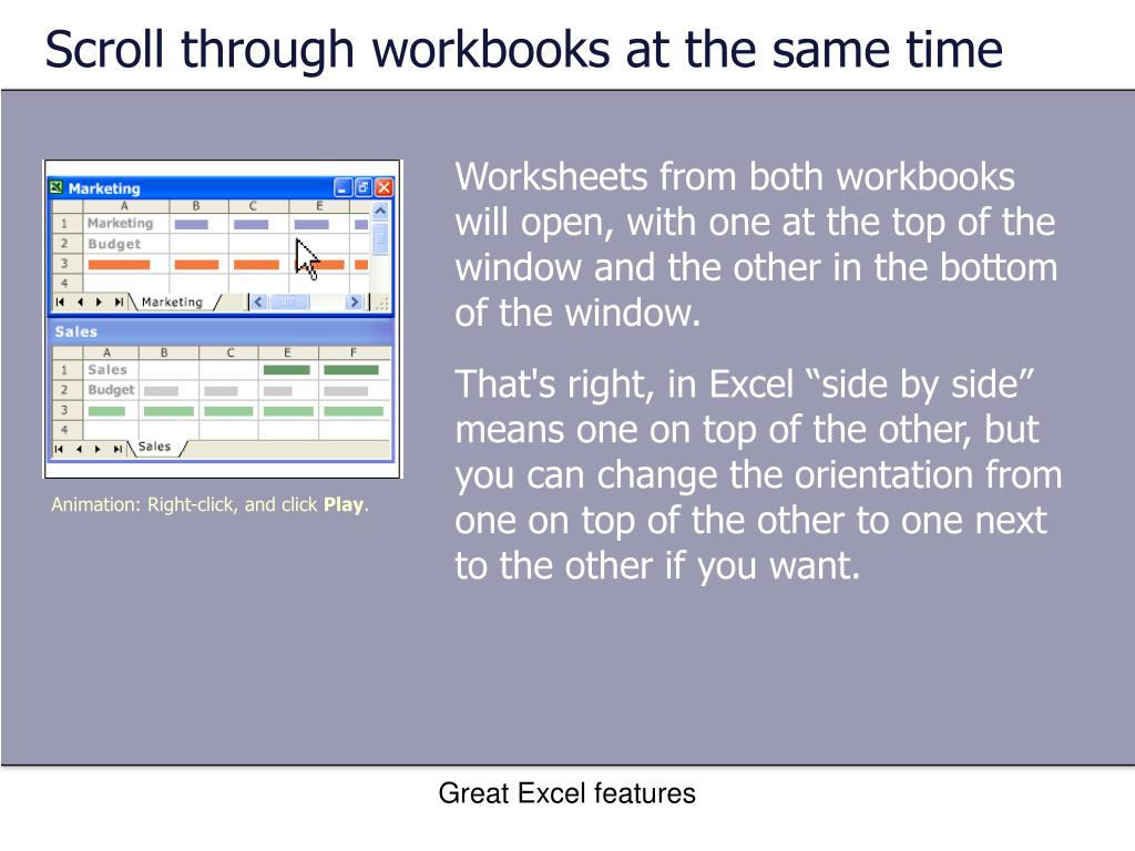 Scroll through workbooks at the same time