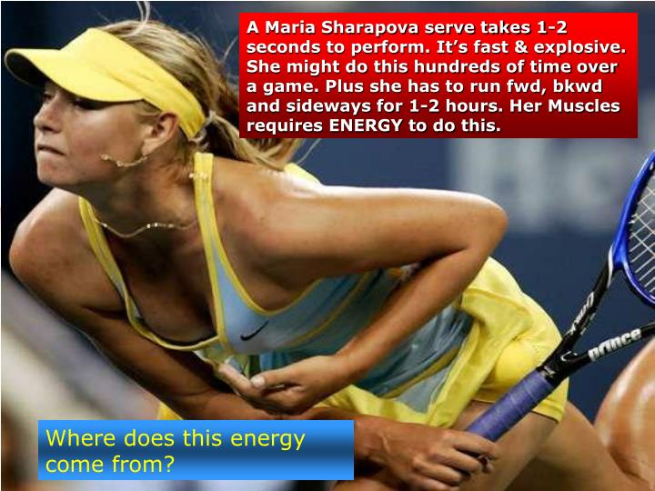 A Maria Sharapova serve takes 1-2 seconds to perform. It's fast & explosive. She might do this hun...