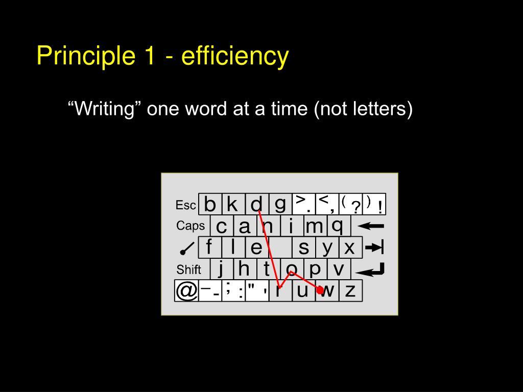 Principle 1 - efficiency