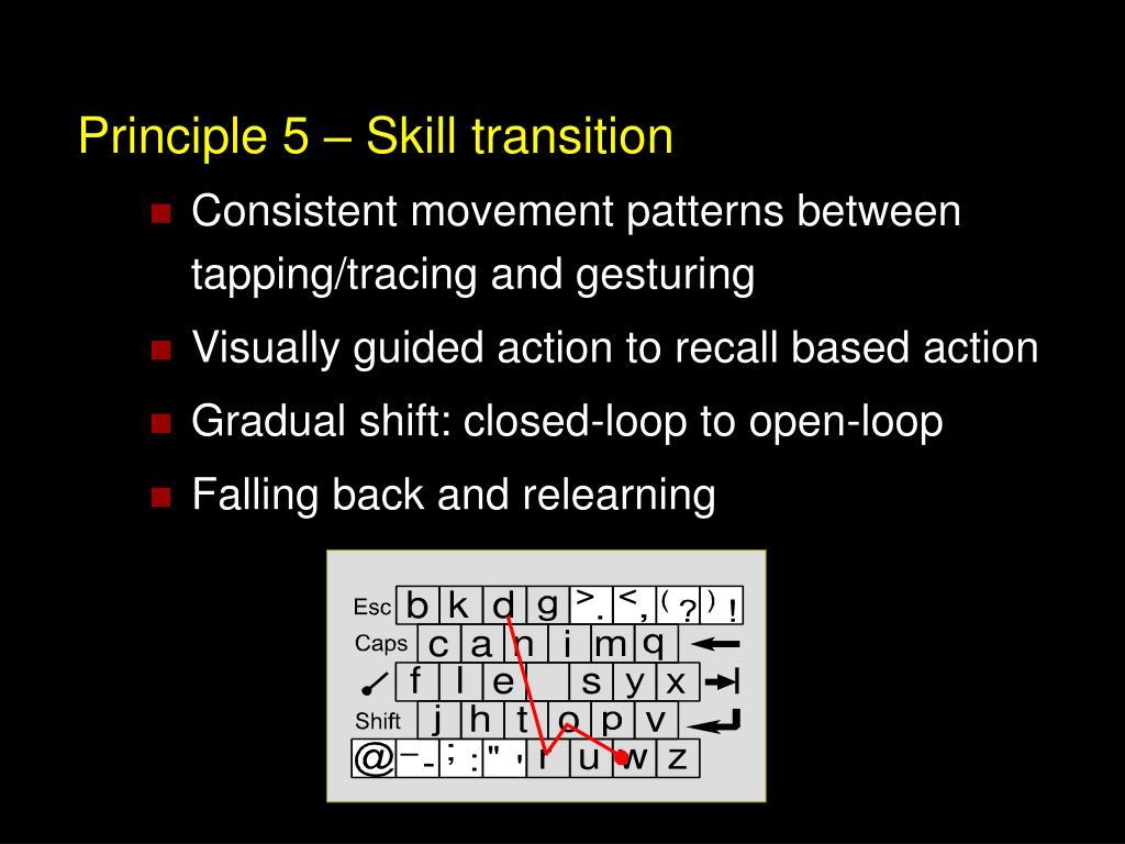 Principle 5 – Skill transition