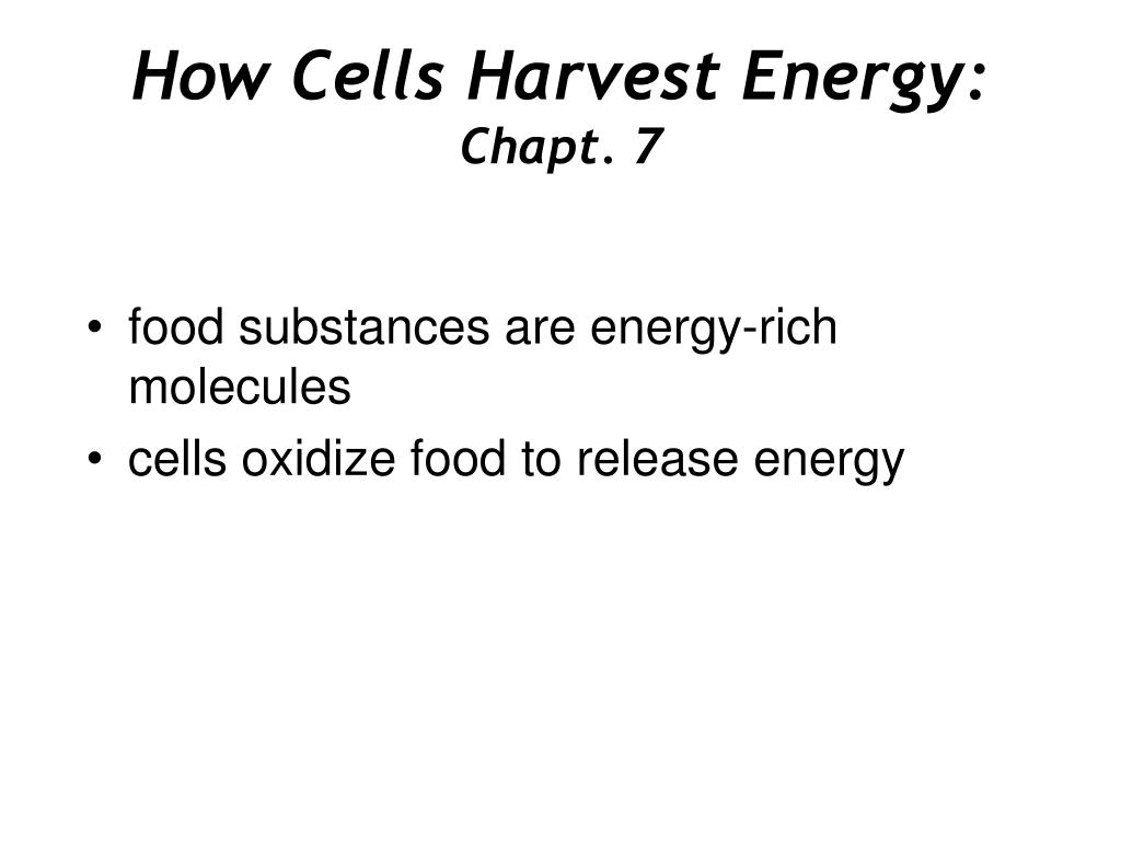 how cells harvest energy chapt 7 l.
