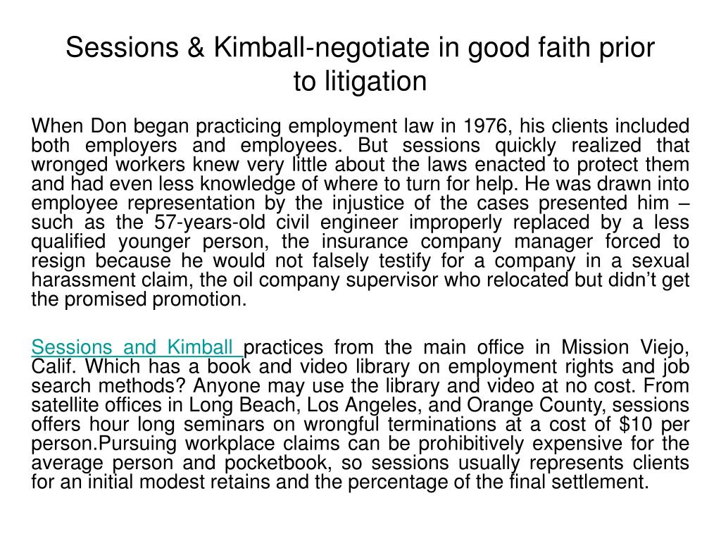 sessions kimball negotiate in good faith prior to litigation l.