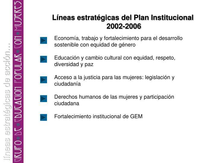 Líneas estratégicas del Plan Institucional