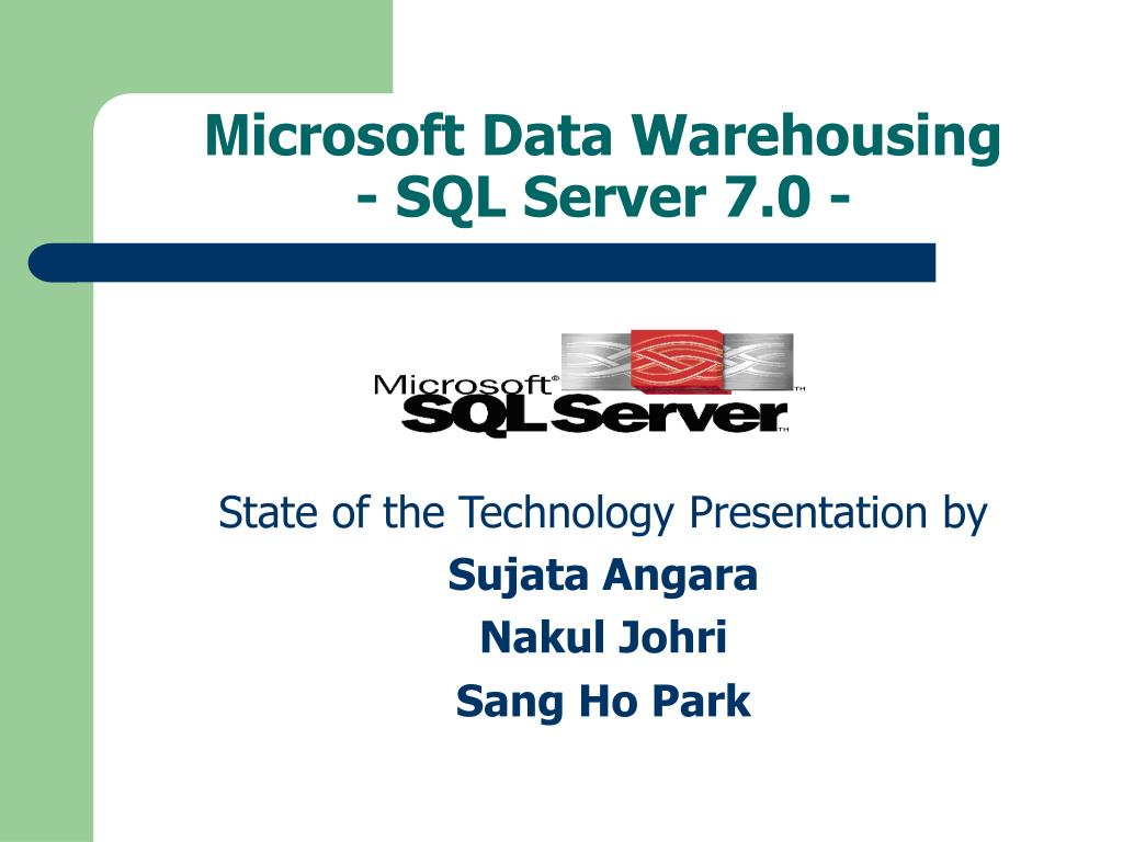 m icrosoft data warehousing sql server 7 0 l.