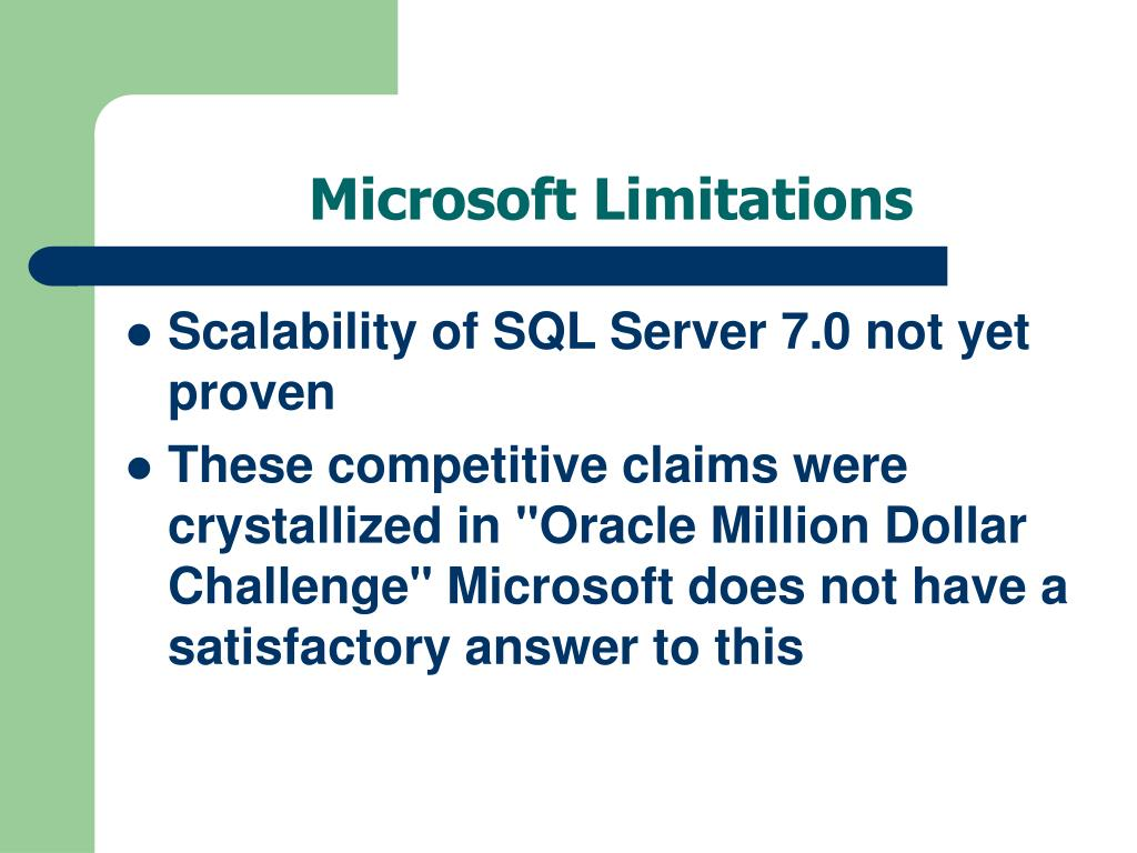 Microsoft Limitations