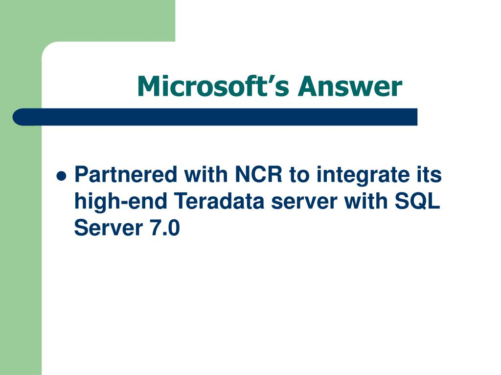 Microsoft's Answer