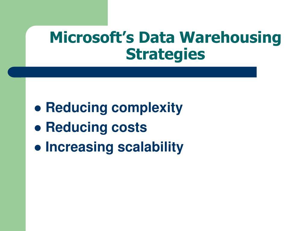 Microsoft's Data Warehousing Strategies