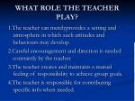 what role the teacher play