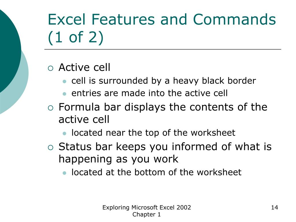 Excel Features and Commands (1 of 2)