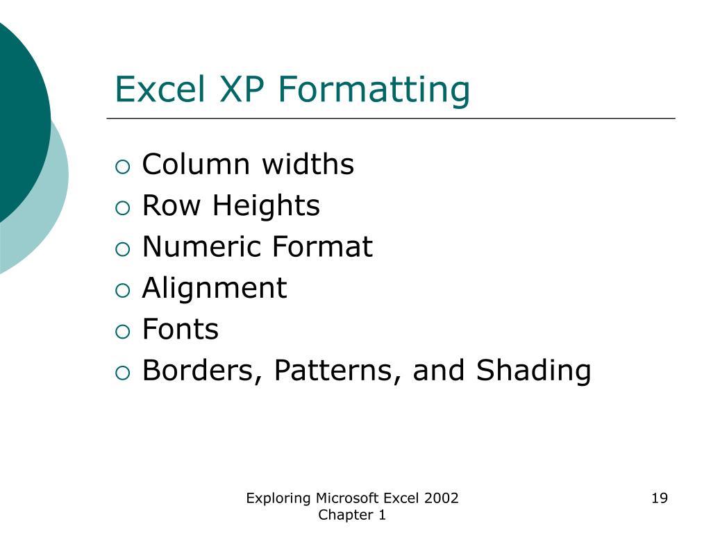 Excel XP Formatting
