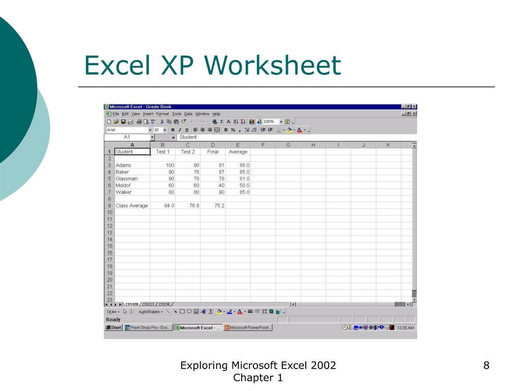 Excel XP Worksheet