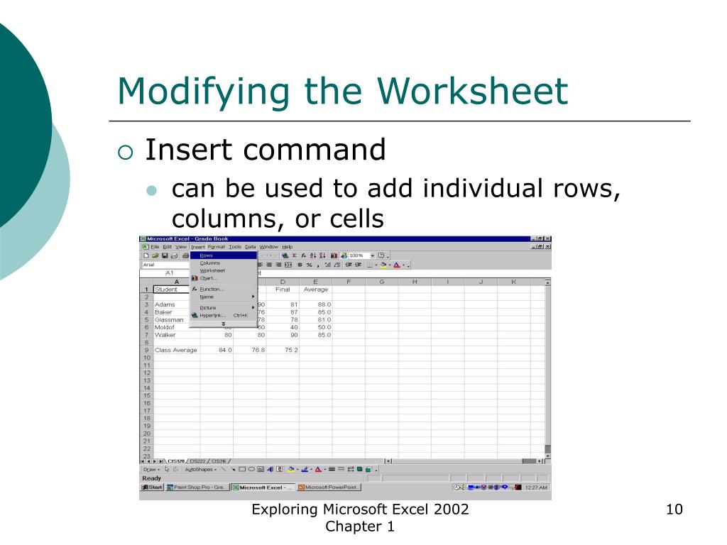 Modifying the Worksheet