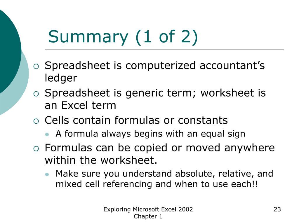 Summary (1 of 2)