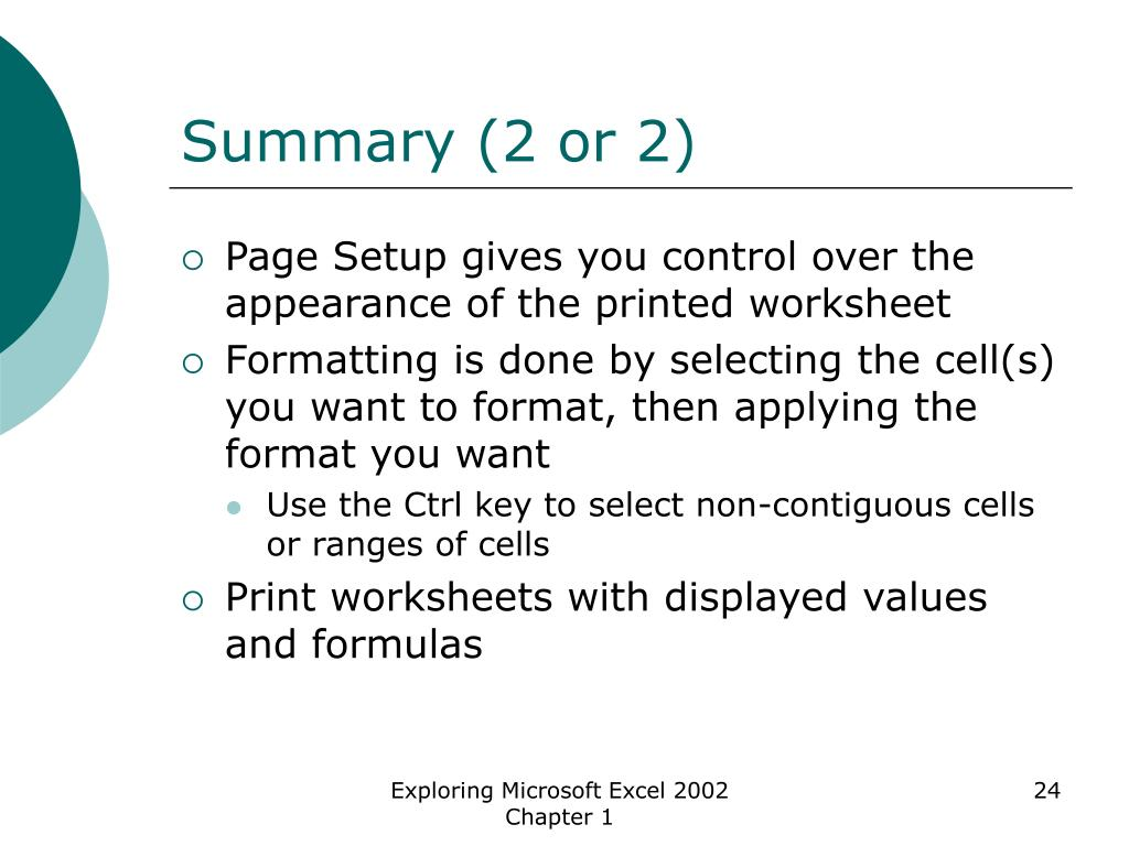 Summary (2 or 2)